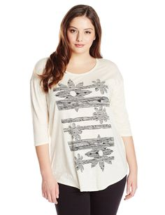 Lucky Brand Women's Plus-Size Sketched Floral Tee * Hurry! Check out this great product : Plus size shirts