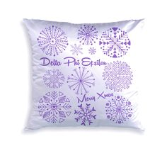 Decorative Sorority Holiday Snowflake Pillow by GreekGear.com!