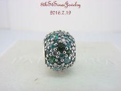 Pandora Bead Ocean Mosaic Pave, Mixed Green CZ & Green Crystal 791261MCZMX & Box #Pandora #European