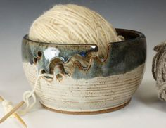 Bridges Pottery Yarn Bowls Click the image to read more! Pottery Bowls, Ceramic Pottery, Porcelain Ceramic, Slab Pottery, Ceramic Mugs, Ceramic Bowls, Crochet Bowl, Pottery Designs, Pottery Ideas