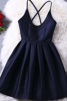 Short Navy Blue Prom Dresses With Criss-cross Mini Straps Prom Dresses #shortpromdresses #strapspromdresses #partydresses #sexydresses #minipromdresses