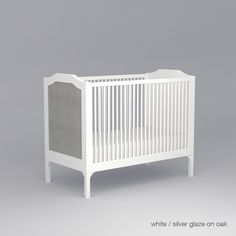 The Stonington Crib by DucDuc for the new Traditionalists is warm and inviting. Available in an array of colours. Seen here in silver glaze on oak