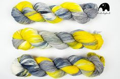 hand dyed yarn sock yarn contemporary wool by MadeByBlackElephant