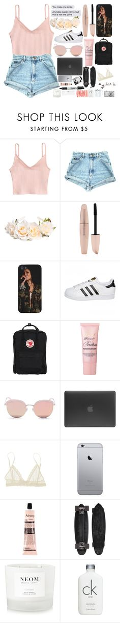 """""""kiss me and call me baby."""" by tempte-d ❤ liked on Polyvore featuring Forever 21, adidas Originals, Fjällräven, Too Faced Cosmetics, Stephane + Christian, Incase, Eberjey, Aesop, GoldCoast and Sharpie"""