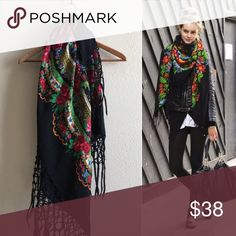 Floral Gothic Fringe Scarf Scarf  BRAND: MATERIAL: 100% virgin wool YEAR/ERA: LABEL SIZE: BEST FIT:   MEASUREMENTS: Chest fringe 10 inches  Length 40x40  🚫 I do not model or trade, sorry! 💟 Check out my closet for more vintage! Vintage Accessories Scarves & Wraps