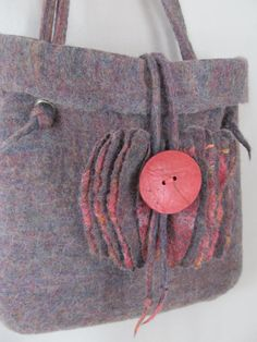 Wet Felted Bag with Coral Accents