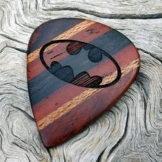 Premium Handmade Wood Guitar Pick - Laser Engraved Batman Tribute - Made with 4 Different Woods on Etsy, $29.95