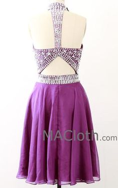 High Neck with Crystals Short Chiffon Purple Homecoming / Prom Dress
