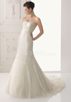 Sumptuous Lace A line With Beading Strapless Chapel Train Bridal Gowns