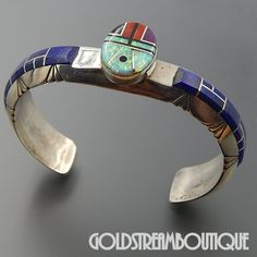 NATIVE AMERICAN CHESTER BENALLY NAVAJO STERLING SILVER LAPIS LAZULI GEMSTONE INLAY CUFF BRACELET