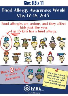 Food Allergy Awareness Week is coming up in May. Get great resources, like this poster from FARE https://www.foodallergy.org/food-allergy-awareness-week