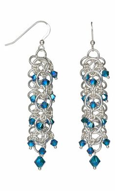 Earrings with Swarovski Crystal Beads and Chain Mail - Fire Mountain Gems and Beads