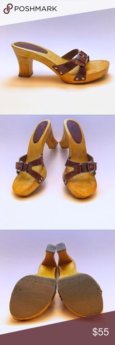 """MIA wood and leather heels EUC retro look heels. 3 1/4"""" heel. Leather upper with buckle and stud detail. Questions and offers welcome! Mia Shoes Heels"""