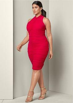 Front View Ruched Bodycon Dress Plus Size Bodycon Dresses 23f92aba0504