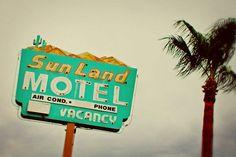 Tucson Arizona Sun Land Motel - Vintage Neon Sign - Retro Home Decor - Vintage Typography - Road Trip Inspired - 16X24 Fine Art Photograph