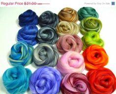 SALE Varigated Felters Palette superfine merino wool, 4oz,18 colors,Varigated Mix