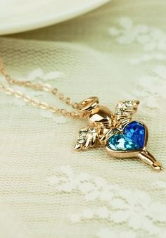 New Lovely Angle Pendant Double Color Crystal Heart Alloy Plated Gold Women's Necklace.Amazing jewelry necklaces  #girls #necklace www.loveitsomuch.com