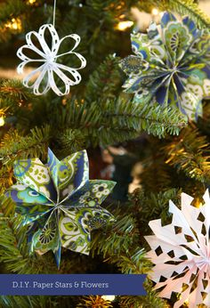 D.I.Y. Paper Stars & Ornaments from http://insidestitch.com/2011/11/23/d-i-y-wednesday-6/