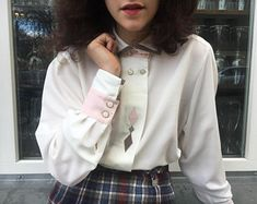 b88835730f7 Vintage treasures from all over the world // Amsterdam by  trouvaillevintageams. White Pastel Blouse ...