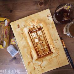 Tea Tardis drawing #tardis #doctorwho  #tea #art #drawing