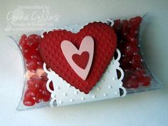 What a cute idea using a pillow box by Connie Collins!  This would look great with a Frosted Pillow box too! http://www.clearbags.com/box/pillow/frosted