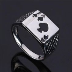 Chunky  Alloy Black Enamel Spades Poker Ring Men  A J fashion personality play card Rings Vintage Cool Men's Jewelry  Rings