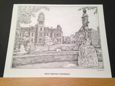 West Virginia University Campus Scenes 8x10 print of Woodburn Hall drawn by artist Michael James using a technique called Pointillism or Stippling where the entire picture is made of dots.  Available in a Pen and Ink (Black and White) print.  $18.