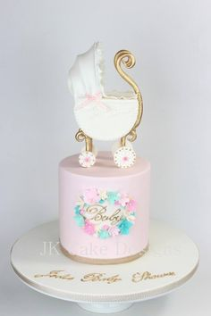 Baby shower pram cake