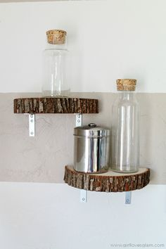 Wood Slice Shelf Tutorial - need different brackets for my taste, though.