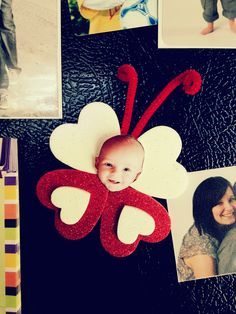 Love Bugs! I've made this project for every valentine's day for my infant classroom, now for my own babies.  Sticker foam hearts onto paper, cut access paper off, glue on picture and pipe cleaner, add magnetic strip on back.