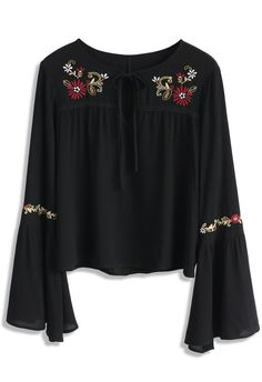 Floral Bliss Embroidered Top in Black- New Arrivals - Retro, Indie and Unique Fashion