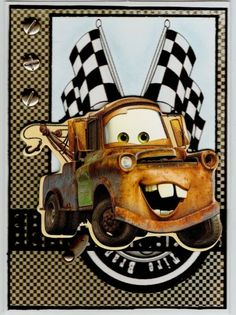 Tommy Tow Truck by BarbieP - Cards and Paper Crafts at Splitcoaststampers Kids Cards, Baby Cards, Truck Driver Wife, Truck Drivers, Disney Cars Movie, Movie Cars, Tow Mater, Tire Tracks, Disney Crafts