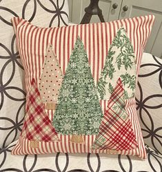 Celebrate the Season with our Christmas Trees Pillow Cover featured from our Red Ticking Christmas Collection. We are all about the simple and pleasing design of the red and white stripes embellished with 5 fabric Christmas Trees in coordinating colors of Fabric Christmas Trees, Christmas Colors, Christmas Holidays, Christmas Quilting, Christmas Cushions, Christmas Vacation, Christmas Quotes, Christmas Movies, Christmas Nails