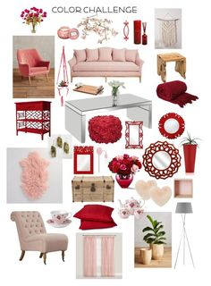 """""""Color Challenge: Red & Pink"""" by k-zaldi ❤ liked on Polyvore featuring interior, interiors, interior design, home, home decor, interior decorating, Cost Plus World Market, Home Decorators Collection, Canopy Designs and Jeffan"""