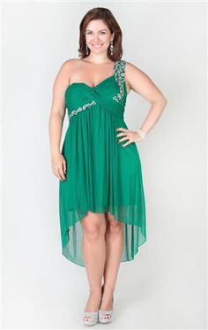 plus size one shoulder dress with chunky stone bodice and high low hem