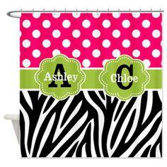 Pink Green Dots Zebra Personlaized Shower Curtain on CafePress.com