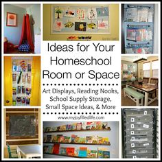 Ideas for Your Homeschool Room or Space - Art Display Ideas, Reading Nooks, Bookshelf Organization, Small Space Ideas, and More.