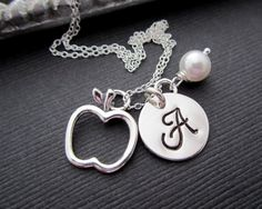Monogram Necklace 925 Silver Apple Necklace Teacher Gift Hand Stamped Jewelry Personalized Monogram