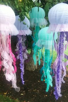 Jellyfish lantern hanging decoration pink, purple or aqua for under the sea party, little mermaid party etc. one lantern per lot - Jellyfish lantern hanging decoration pink purple or aqua for Mermaid Theme Birthday, Little Mermaid Birthday, Little Mermaid Parties, The Little Mermaid, Little Mermaid Decorations, Mermaid Birthday Decorations, Under The Sea Decorations, Mermaid Themed Party, Little Mermaid Centerpieces