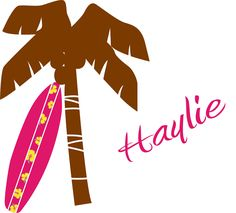 ON SALE kids palm tree and surfboard with childs name Removable vinyl wall decal nursery sticker mural. $59.00, via Etsy.
