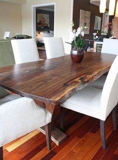 "Modern Dining Table with Walnut Slab (96"") - $7800"