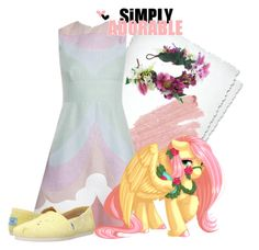 """""""Fluttershy"""" by rainbow-rainboom ❤ liked on Polyvore featuring Jane Iredale, My Little Pony, Rock 'N Rose and TOMS"""