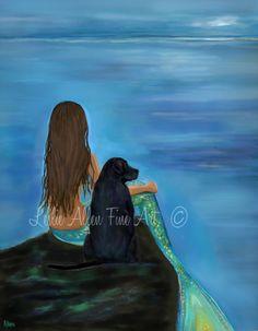 "Mermaid Art Print Mermaid Painting Black Lab Art Lab Art Mermaid Theme Dog Art Decor ""A LOYAL BUDDY"" Leslie Allen Fine Art"