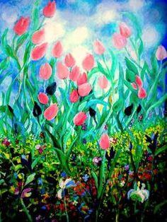 "Saatchi Art Artist Nada  Sucur Jovanovic; Painting, "",,The Tulips,,"" #art"