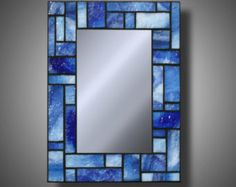 "Blue Stained Glass Mosaic Mirror made with Uroboros Glass, 8"" x 11"""
