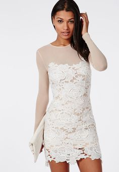 Lace Mini Dress Nude