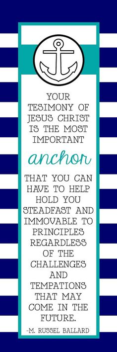 Come Follow Me (MAY) How can I strengthen my testimony? LDS Quote Anchor Bookmark by HayashiPhotography on Etsy