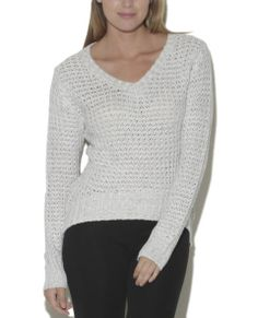 """Perfect for layering, and easy to match just about any outfit, this totally must have stylish pullover sweater, features an openwork knitted body, v-neck, thick ribbed trim, and a high-low hemline.   Model is 5'10"""" and wears a size small.      100% Acrylic           Hand Wash           Imported"""