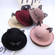 Glitz and Glitterz   PRE-ORDER  Cutie Cat Ears Bowler Hat  a393c22acd91