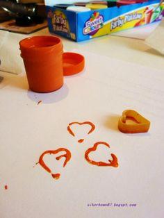 Pieczątka DIY - makaron w kształcie serduszek